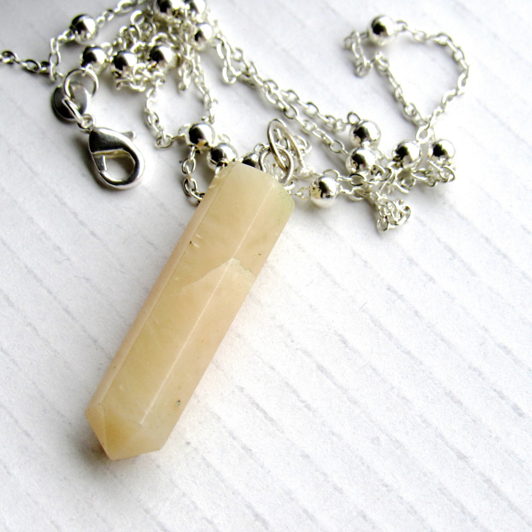 (On Sale!) Calcite Silver Bulb Necklaces