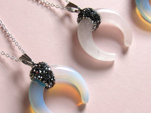 Rose Quartz Crescent Moon Necklaces