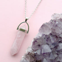 Load image into Gallery viewer, Silver Rose Quartz Necklaces