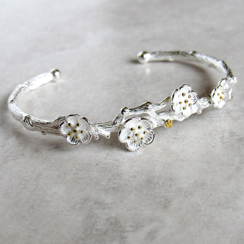 Silver Floral Branch Bangles