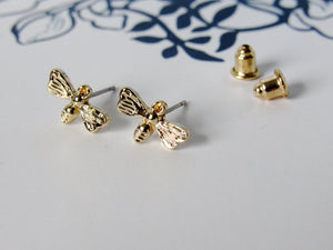 (On Sale!) Tiny Gold Female Bee Earrings