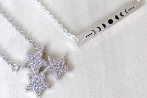 Silver Star Cluster Necklaces
