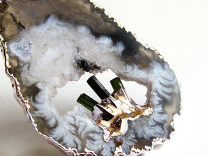 Tourmaline Geode Necklaces (Silver)