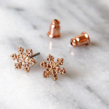 Load image into Gallery viewer, Rose Gold Snowflake Earrings