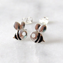 Load image into Gallery viewer, Silver Bumblebee Earrings