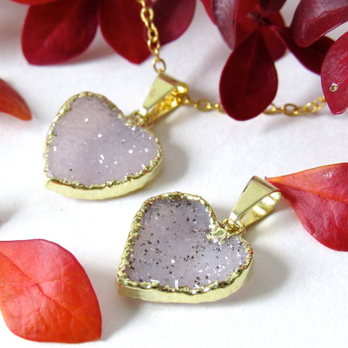 Snow Druzy Heart Necklaces