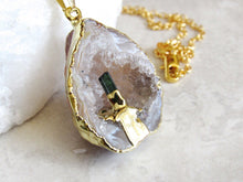 Load image into Gallery viewer, Oco Geode Tourmaline Point Necklaces