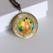 Load image into Gallery viewer, Antique Bronze Sunflower Van Gogh Locket