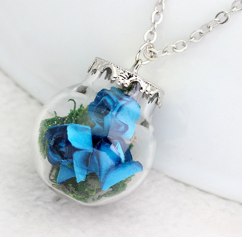 (On Sale!) Blue Flower Bud Globe Necklaces
