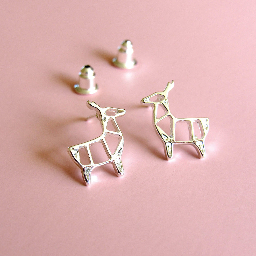 Origami Deer Earrings (Silver or Gold)