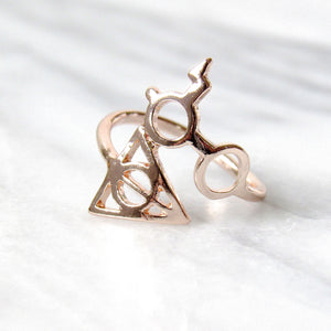 Rose Gold Harry Potter Deathly Hallows Rings