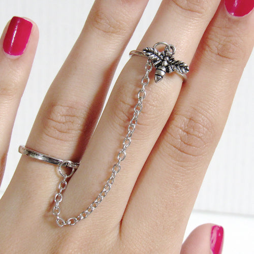 Double Bee Ring (antique silver)