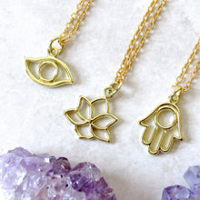 Load image into Gallery viewer, Lotus | Hamsa | Eye Charm Necklaces