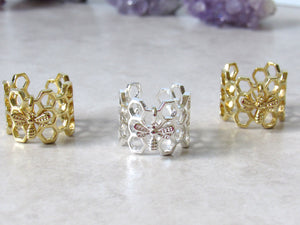 Silver Honeycomb & Bee Rings