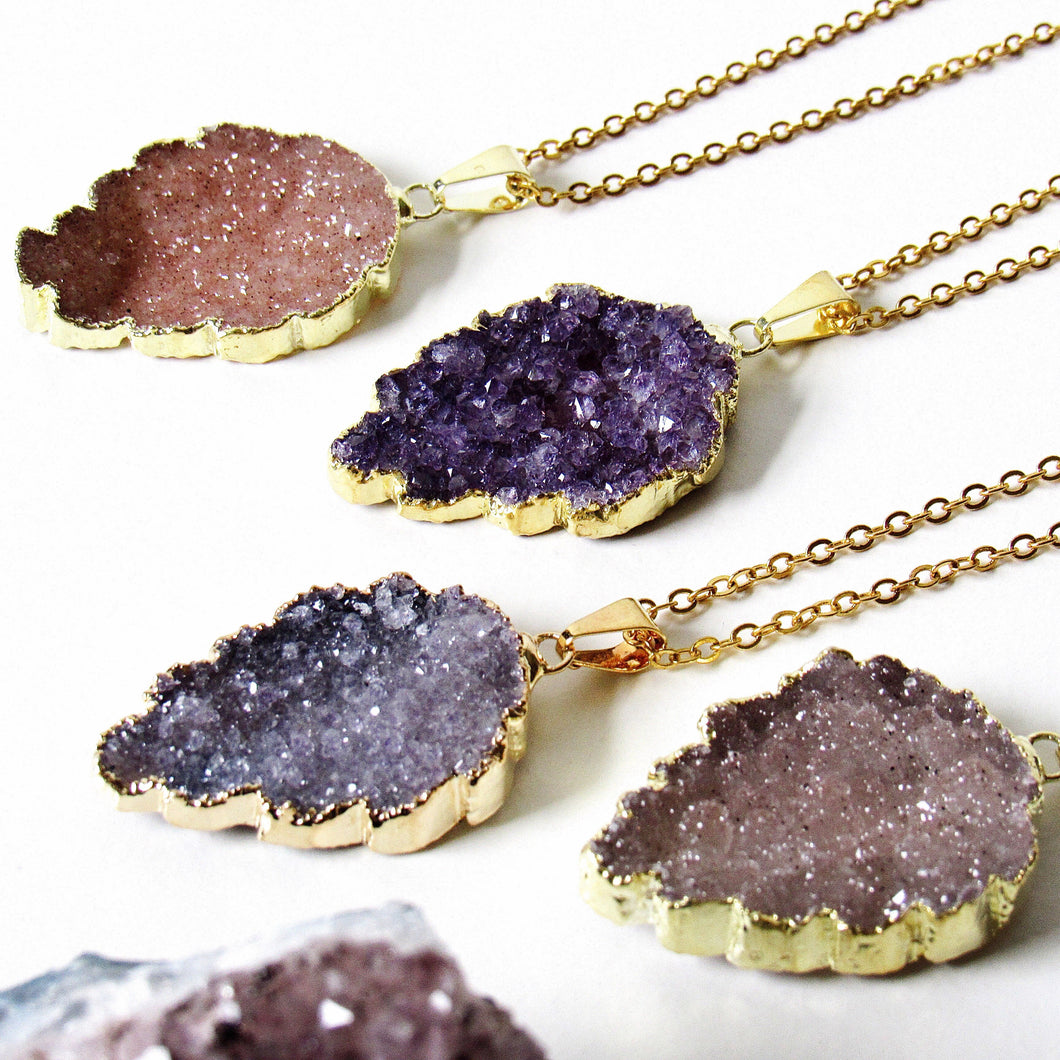 Golden Leaf Druzy Necklaces