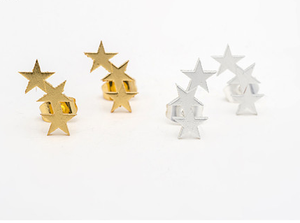 Gold Triple Star Earrings