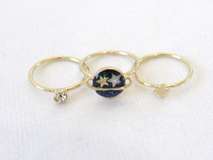 Planet and Star Midi Ring Set (3pc)