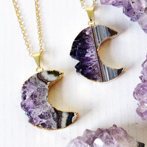 Gold Crescent Moon Amethyst Slice Necklaces