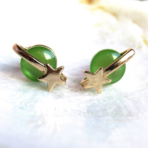 (New!) Galactic Saturn Earrings (Green)