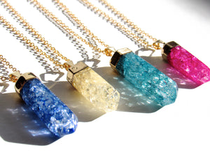 Teal Cracked Quartz Point Necklaces