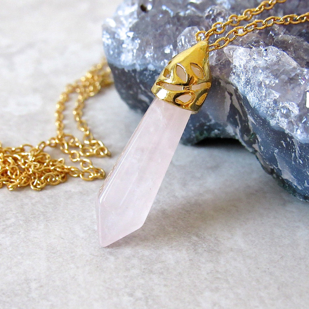 Rose Quartz Stone Necklaces