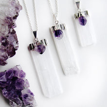 Load image into Gallery viewer, Silver Amethyst Selenite Blade Necklaces