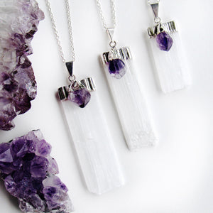 Silver Amethyst Selenite Blade Necklaces