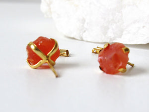 Raw Carnelian Agate Stud Earrings