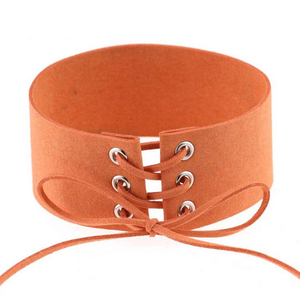 (New!) Lace Up Suede Chokers (4 Colors)