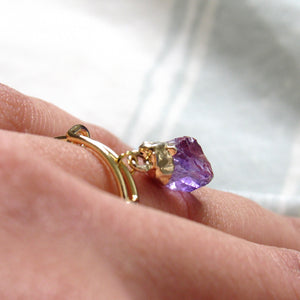 Dangling Amethyst Point Rings