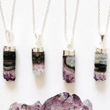 Load image into Gallery viewer, Silver Cylindrical Amethyst Necklaces