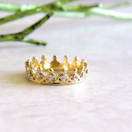 Gold Jeweled Crown Rings