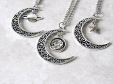 Load image into Gallery viewer, Antique Silver Crescent Moon Charm Necklace
