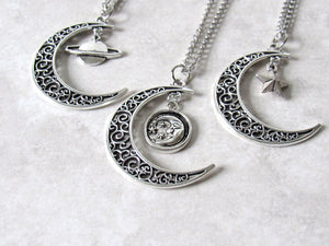 Antique Silver Crescent Moon Charm Necklace