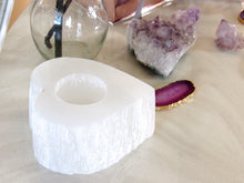 Load image into Gallery viewer, Selenite Heart Candle Holders