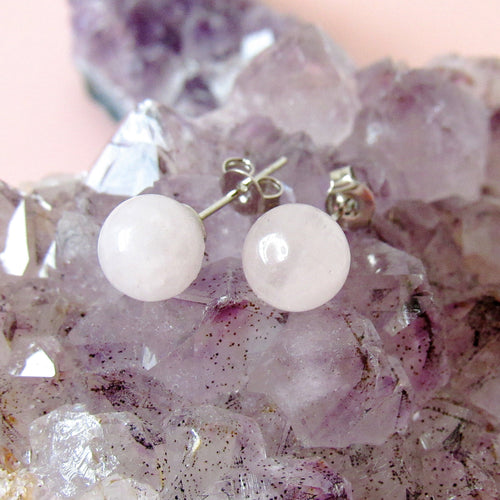 Spherical Rose Quartz Earrings