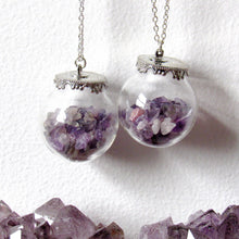 Load image into Gallery viewer, Amethyst Chip Globe Necklaces
