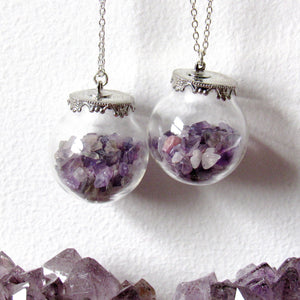 Amethyst Chip Globe Necklaces