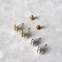 Load image into Gallery viewer, Tiny Gold Bee Earrings