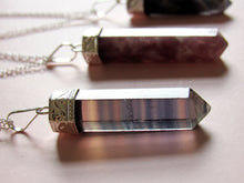Load image into Gallery viewer, Royal Silver Fluorite Point Necklaces