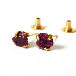 Raw Ruby Crystal Stud Earrings