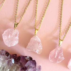 Raw Rose Quartz Necklaces