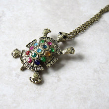 Load image into Gallery viewer, (On Sale!) Jeweled Turtle Necklace