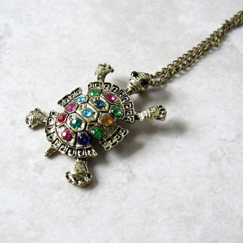 (On Sale!) Jeweled Turtle Necklace