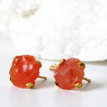 Load image into Gallery viewer, Raw Carnelian Agate Stud Earrings
