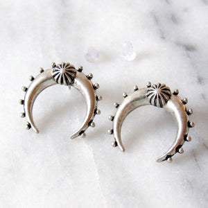 Antique Silver Crescent Moon Earrings
