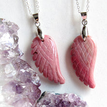Load image into Gallery viewer, Rhodonite Angel Wing Necklaces