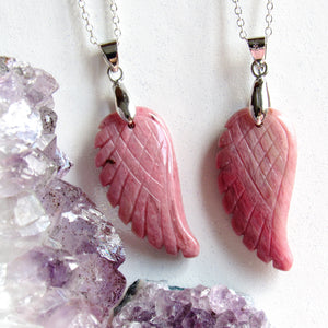 Rhodonite Angel Wing Necklaces