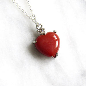Twinkling Carnelian Agate Heart Necklaces