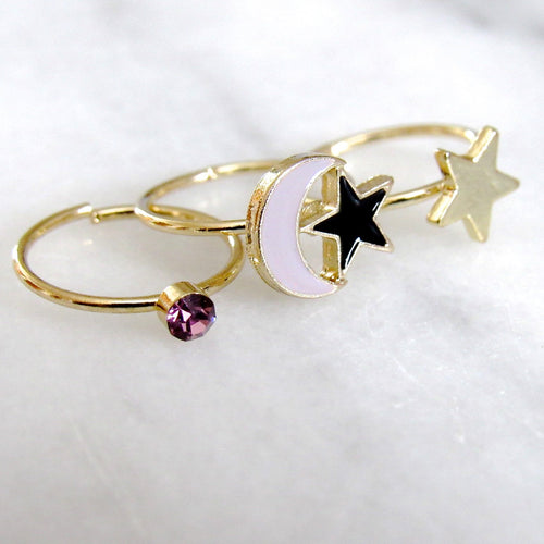 Twinkling Night Midi Ring Set (3pc)
